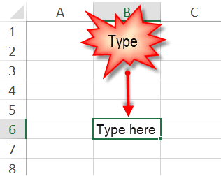 Move around excel -- type in cell