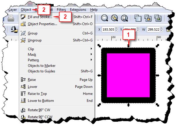 Inkscape: Change stroke width steps 1 & 2