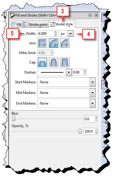 Inkscape: Change stroke width steps 3, 4, & 5