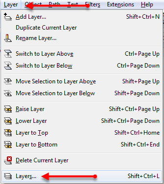 Inkscape layers menu
