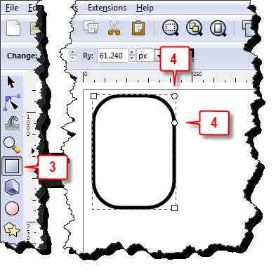 Inkscape: Sharp corner a rectangle steps 3 & 4