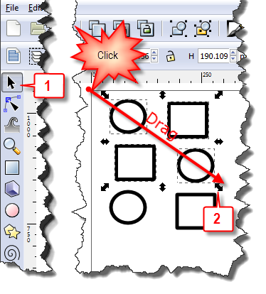 Inkscape: Select multiple objects