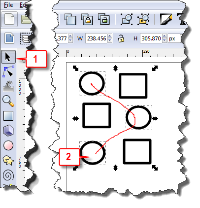 Inkscape: Select multiple noncontiguous objects