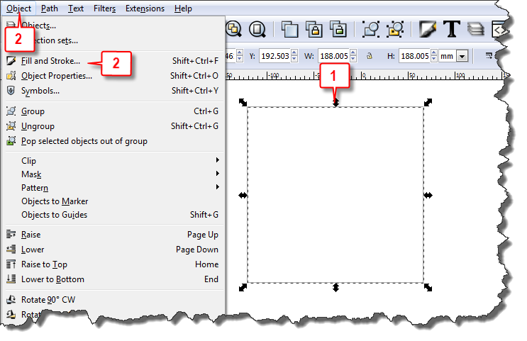 Inkscape: Create pattern steps 1 & 2