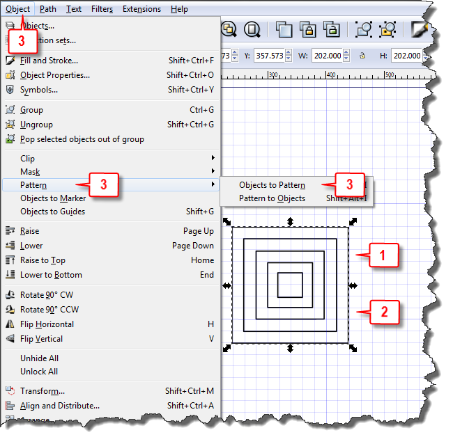 Inkscape: Create your own pattern steps 1, 2, & 3