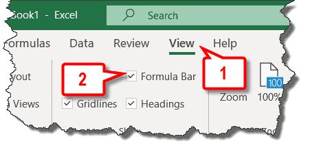 display formula bar
